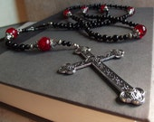 Large Cross Rosary:  Gothic Cross Necklace, Extra Long Unisex Necklace, Black and Red Goth Jewelry, Religious Rosaries
