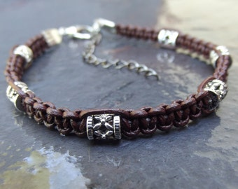 Brown Leather Tribal Bracelet:  Bohemian Macrame Men's Bracelet, Hipster Unisex Jewelry, Hand Knotted Boho Bracelet, Father's Day