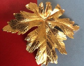 Huge 22 K Gold Dipped Leaf Brooch
