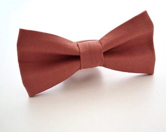 Mens Bow Tie- Kona Cotton in Burnt Sienna, Terra Cotta Bow Tie, Copper Bow Tie, Rust Bow Tie, Groomsmen Bow Ties