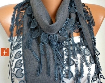 Gray Heart Pashmina Scarf, Winter Scarf,Cowl Scarf, LOVE,Gift Ideas For Her, Women Fashion Accessories, Bridesmaid Gift,Valentine's Day Gift