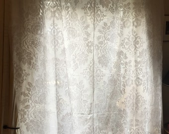 Fabulous French antique voile two panel curtain