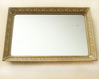 MOVING SALE Vintage Vanity Mirror Tray Gold, Vintage Perfume Tray