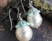 Pearl dangle earrings - Pump Petals - large off white pearl robin egg blue sterling silver bridal bridesmaid boho by slashKnots slash knots