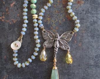 Knotted spring necklace - In Flight - artisan butterfly fairy fantasy lavender green boho by slashKnots slash knots