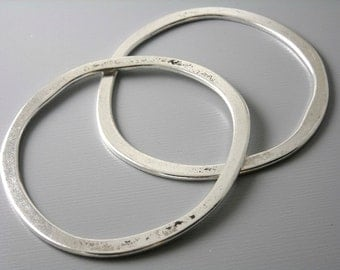 LINK-SILVER-53MM - Large 53mm Antique Silver Plated Circle Links...2 pcs