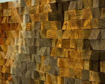 Rustic Wood wall Art, wood wall sculpture, abstract wood art mosaic