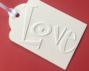 Gift Tags - Set of 40 White Embossed Tags for Any Occasion