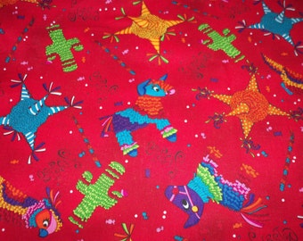 Pinatas Fabric Mexican Themed Red Background New By The Fat Quarter