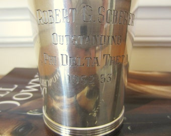 Vintage engraved sterling silver mint julep cup.  Phi Delta Theta trophy cup.  1950s Kentucky Derby mint julep cup.