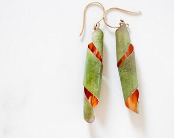 Patina Earrings / Green Patina Earrings / Twist Earrings / Unique Earrings / Handcrafted / Unique Finds / Copper Earrings / Fall 2016