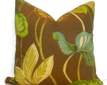 Botanical Pillow Cover Leaf Pillow Waverly AQUATIC TANGO Sea Visions