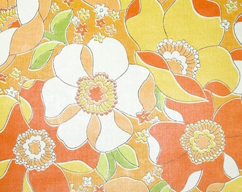 Vintage Wallpaper by the Yard 70s Retro Wallpaper - 1970s Orange Yellow and White Floral
