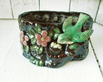 Vintage bird nest stump ceramic vase planter 1950s
