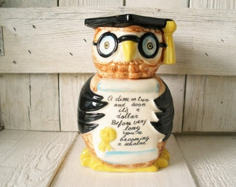 Vintage owl bank ceramic student scholar college savings 1950s