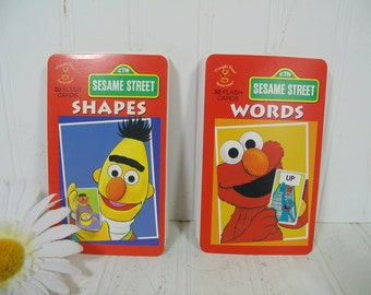 Vintage Sesame Street Flash Cards Sets - Recognizing Words and Shapes with Colorful Illustrations in 60 Pieces - Sesame Street Characters