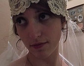 Vintage Inspired Hand Made Bridal Veil Hand Made  Shimmer Tulle Gold Applique Headband  Matching Purse, Shoe Clips