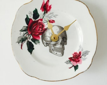 Black Skull Plate Clock Magenta Rose Flowers White China for Kitchen Wall House Warming Gift Unique Vintage Homeware Present Made in England