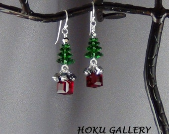 Swarovski Crystal Christmas Tree Earrings, Sterling Silver, SS Ball End Earwires - Hand Crafted Artisan Jewelry