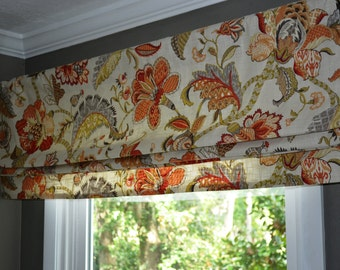 Stationary Faux Roman shade, valance with lining, made to order. P. Kaufmann Finders Keepers Spice, flowers in orange, brown, light green,