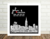 Wedding Gift Wedding Skyline Art Personalized Print New York City Skyline Any City Available Custom Wedding Gift Engagement Gift for Couple