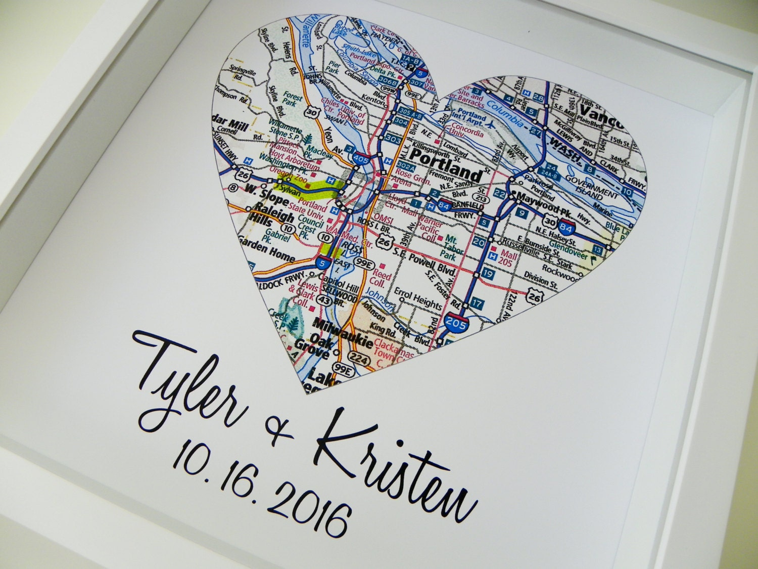 Map Heart Art Shadow Box Frame Heart Map Print Shadow Box: married to design