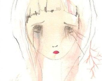 Sad Girl original aceo, sad illustration, hold on, original art