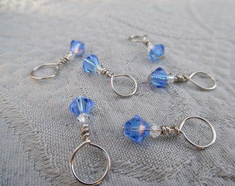 "Stitchmarkers for knitting, set of  6, ""ocean"", up to 6.5 mm needles"