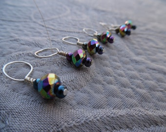 "Knitting Stitch markers, set of 6, ""Oil Slick"",  up to 8 mm needles"