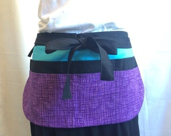 Utility Apron/Teacher Apron with 8 pockets and loop in black turquoise purple fabrics