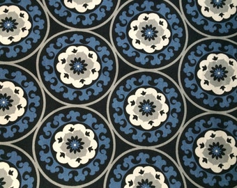 Simone Coal Black and Blue Cotton Duck Fabric sold-by-the-yard