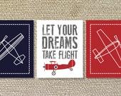 Airplane, Airplane Wall Art, Vintage Airplane, Airplane Decor- Set of three prints