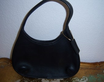Vintage Black Leather Coach Hobo Handbag