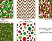HALF YARD BUNDLE Christmas Fabric for Springs Creative Holiday 100% Cotton Quilt Apparel Craft Scattered Dots Swirl Chevron