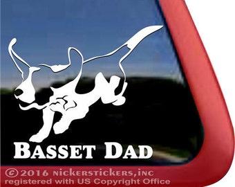 ON SALE! ** 2 Bucks off Regular Price | Basset Dad | DC990DAD | Basset Hound Dog Window Decal Sticker