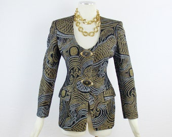 Vintage GIANFRANCO FERRE METALLIC Evening Blazer with detachable Scarf For Bergdorf Goodman