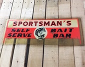 Vintage advertising sign fishing sign bait sign man cave wall decor