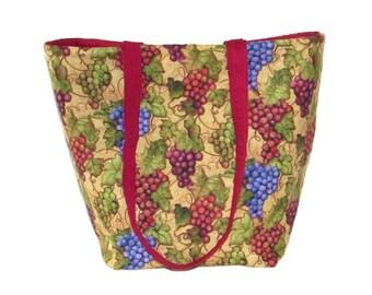 Grapes Tote Bag, Wine Cloth Purse, Handmade Handbag, Winery, Vineyard, Grapevine, Burgundy, Beige, Fabric Bag, Shoulder Bag