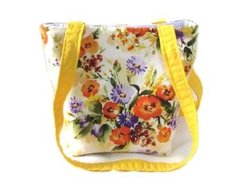 Floral Purse, Small Tote Bag, Handmade Handbag, Orange Flowers, White Fabric Bag, Shoulder Bag, Teen Purse, Girls Purse