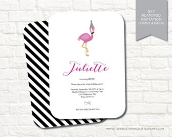 Modern Flamingo Birthday Party Digital Invitation