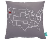 Map Pillow - Home Is Where The Heart Is - Home State Pride