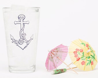 Anchor Pint Glass - Beer Glass - Barware - Natical Glassware - Screen Printed - Made in USA - Nautical - Ocean - Roses - Sailor Pint