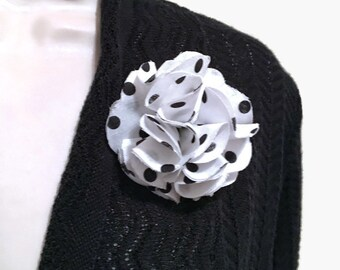 White & Black Polka Brooch Pin, Brooch Pin, Brooch, White And Black Brooch, White And White Flower Pin, White And White Fabric Flower Brooch