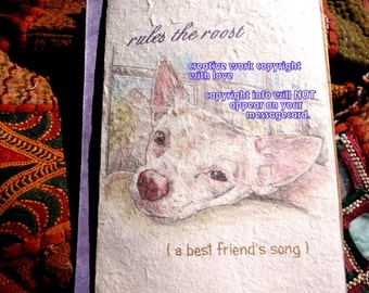 rules the roost ( a best friend's song ) tan chihuahua / chihuahu love /personalize / storybook /sentimental unique empathy condolence cards