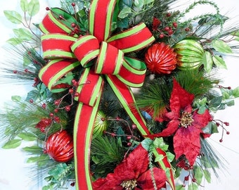 SAVE 60% on Christmas Wired Red & Green Velvet Outdoor Ribbon Enhances a Gorgeous Christmas Door Wreath