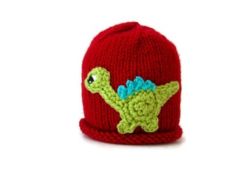 Boy's animal hat - knit toddler hat - knitted kids hat - knitted winter cap - knit child's beanie - dino lover