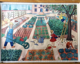 Double-sided Rossignol Vintage French School  poster The Vegetable plot and the Bus stop