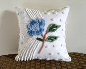 BLUE ROSE chenille pillow cover, 14 X 14 inches, cottage chic cushion cover, blue rose pillow case, beach house pillow sham