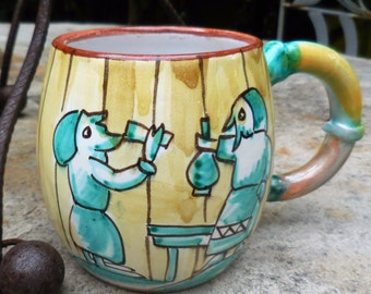 Drinking Pigs Vintage Italian Majolica Barrel Mug