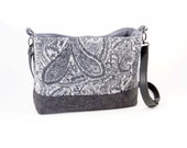 FELTED Gray Paisley CASHMERE WOOL Cross Body Bag-Shoulderbag / Cashmere Wool From Upcycled Cashmere Sweaters - Eco Friendly Gift! #003 Gift